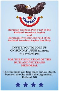 Veterans Memorial Invitation front & back